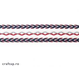 Bandă decorativă bumbac cu romburi și săgeți - față - roșu-alb - craftup.ro