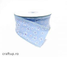 Bandă decorativă cu flori - bleu - craftup.ro