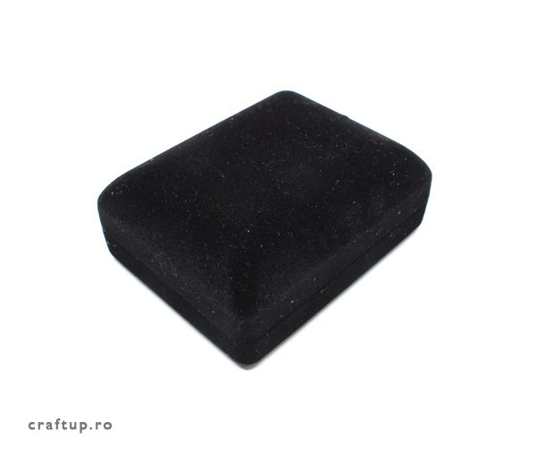 Cutie bijuterii catifea, dreptunghiulara, pentru colier - negru - 1 - craftup.ro