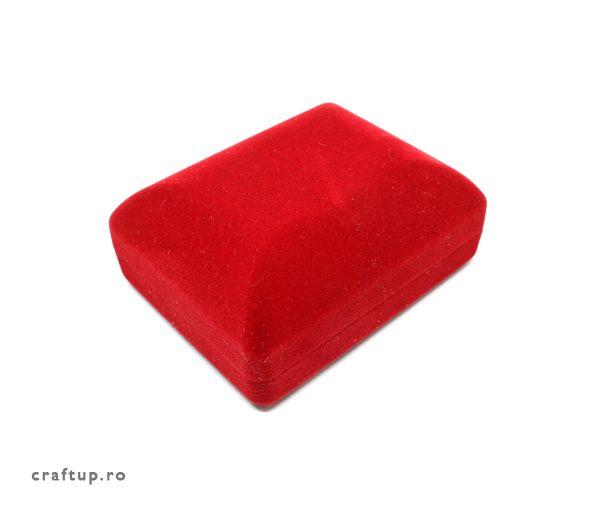 Cutie bijuterii catifea, dreptunghiulara, pentru colier - rosu - 1 - craftup.ro