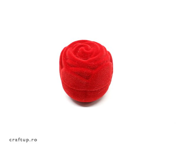 Cutie bijuterii trandafir, pentru inel - rosu - 1 - craftup.ro