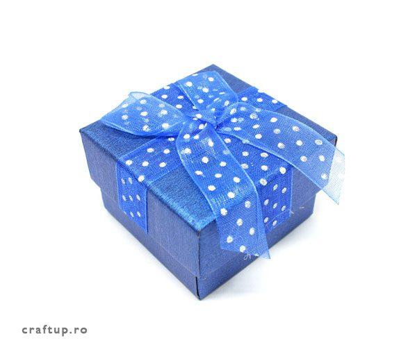 Cutie cadou cu fundă și buline pentru inel sau cercei - albastru - 1 - craftup.ro