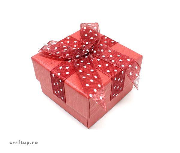 Cutie cadou cu fundă și buline pentru inel sau cercei - roșu - 1 - craftup.ro