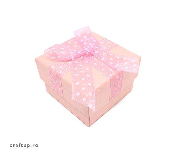 Cutie cadou cu fundă și buline pentru inel sau cercei - roz - 1 - craftup.ro