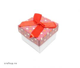 Cutie cadou cu funda si inimi pentru inel sau cercei - 1 - craftup.ro