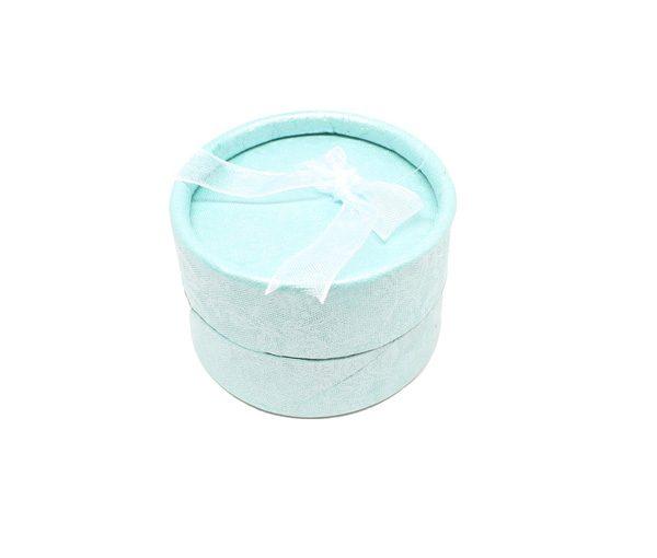 Cutie cadou rotundă cu fundă, pentru inel - turcoaz - 1 - craftup.ro