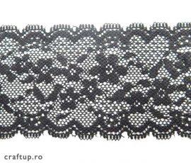Dantelă elastică, model 6607, 5cm - negru1 - craftup.ro