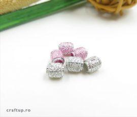 Mărgele model aztec - gri si roz