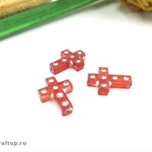 Mărgele cruce cu ștrasuri - roșu