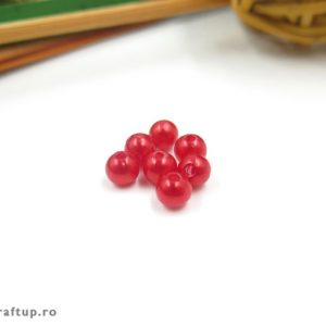 Mărgele rotunde perlate - roșu