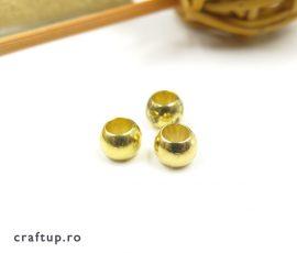 Mărgele rotunde metalizate cu gaură mare - auriu - craftup.ro
