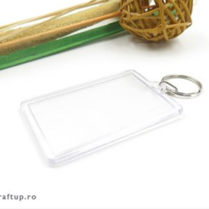 Breloc transparent dreptunghilar (blank) 3,5×5,5cm