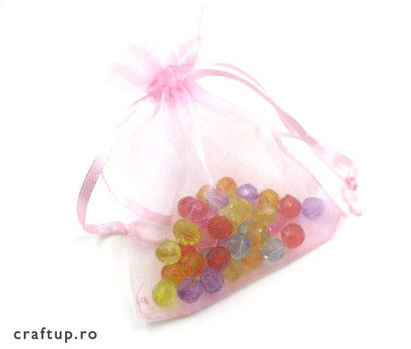 Săculeți organza dreptunghiulari - roz - craftup.ro