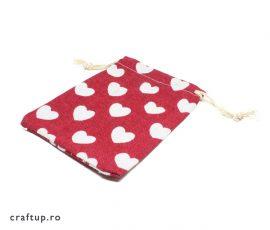 Săculeți textil cu inimi 9x12cm - roșu - craftup.ro